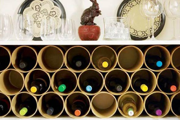Mailing Tube Wine Rack via ReadyMade Mag