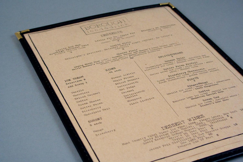 kraft paper menu